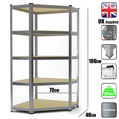 Metal Shelving Industrial Boltless Racking Heavy Duty Corner Shelf Bay 5 Tier