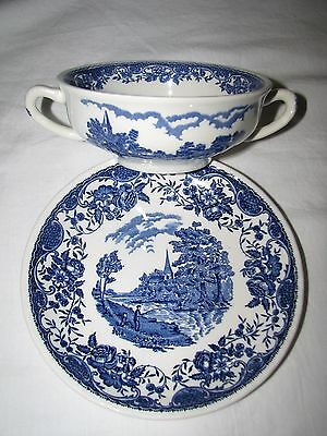 blue transferware ROYAL TUDORWARE Staffordshire Old England CREAM SOUP CUP PLATE