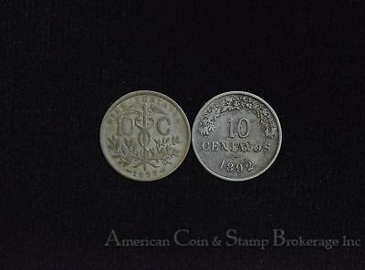 Bolivia 10 Centavos 1892 1897 2 COIN LOT - 1892 - SCARCE 1 YEAR TYPE