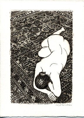 Rare ex libris Costante Costantini, nude, erotic signed etching ! Dotted points!