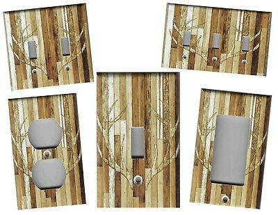 Rustic Barn Wood Planks With Deer Antlers Home Wall Decor Light Switch Plates