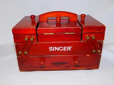 Vintage Wooden SINGER Accordian Fold Out SEWING BOX Chest Drawer MINI