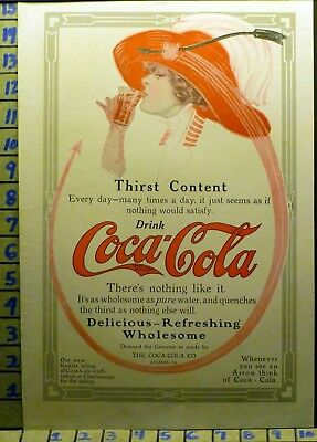 1912 Coca Cola Coke Red Hat Arrow Woman Sexy Soda Beverage Pop Vintage Ad  V47