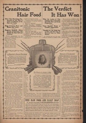 1901 Cranitonic Hair Food Dandruff Bald Laughlin Scalp Quack Medical Ad12843