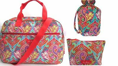 Nwt Vera Bradley Paisley In Paradise Lighten Up Small Duffel, Ditty,  L.cosmetic