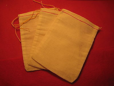 "COTTON CLOTH BAGS (POUCHES), SET OF 11 WITH SEWN IN DRAW STRING...approx.4"" X 6"""