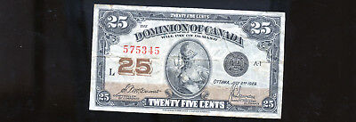 1923 Dominion of Canada 25 Cents Shinplaster McCavour BL3099