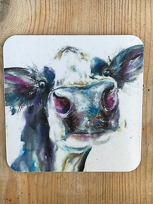 Cow art Coaster , Watercolour dairy cow  print uk made coaster. Christmas Gift