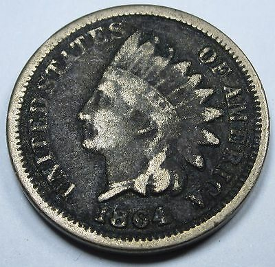 1864 F Copper Nickel US Indian Head Penny 1 Cent Antique Currency Old Money Coin