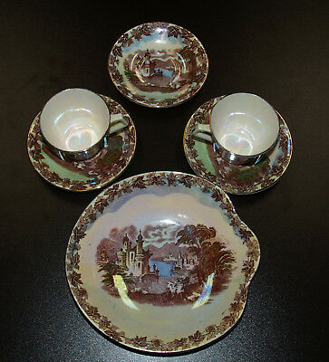 Two Cups/Saucers, bowl and extra saucer Maling - Newcastle on Tyne Cows Grazing