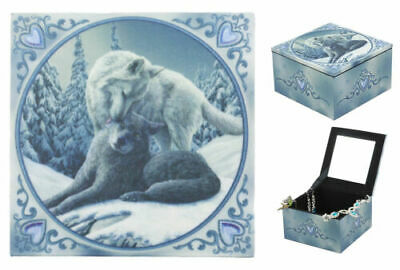 Blue Ice Valentine Heart Tundra Snow And Gray Wolf Family Mirror Jewelry Box