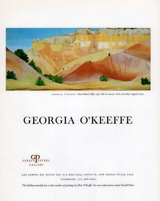 1985 A Ad  Georgia O'keefe Gerald Peters Art Gallery Ghost Ranch Cliffs