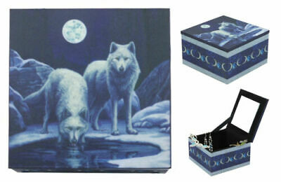 Full Moon Winter Night Snow Wolves By Prairie Watering Hole Mirror Jewelry Box