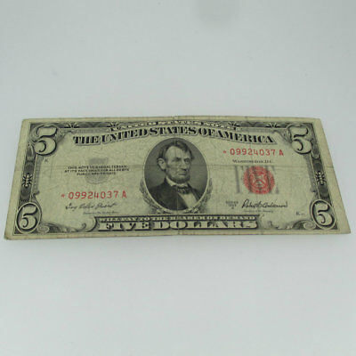 1953 A Red Seal United States Five Dollar Star Note 5 Dollar Bill 600636