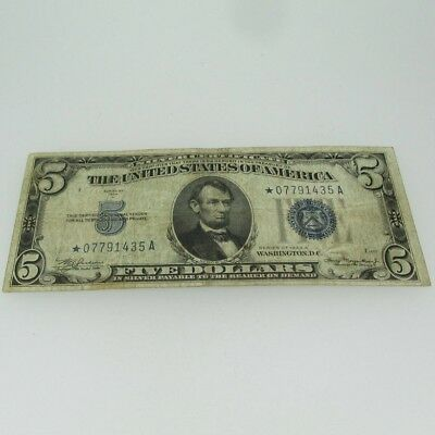 1934 A Silver Certificate Star Note United States 5 Dollar Bill Five Dollar Note