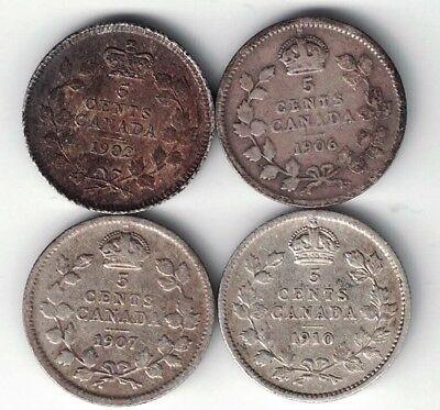 4 X Canada 5 Cents King Edward Sterling Silver Coins 1902 1906 1907 1910