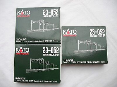 Lot of 3 Kato 23-052 Double Track Overhead Pole, Ground, 6pcs, UniTrack, N Scale