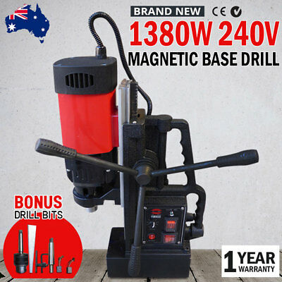 NEW 240V MT2 Magnetic Base Drill 1380W Extra Long Travel Electro-Mag Industrial