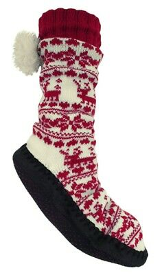 Ladies Womens Fleece Lined Slipper Sock with Sole Bed Slipper Boot Home Shoes