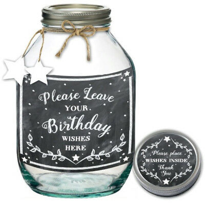 Birthday Wishes Jar Party Memories Keepsake Alternative Guest Book Gift