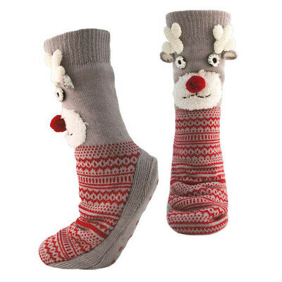 Ladies Womens Long Knitted Christmas Slipper Socks Bed Socks Home Shoes