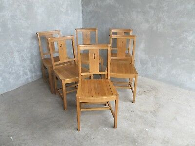 Set of 6 Oak Church Chairs - Chapel Chairs - Reclaimed Old Seats