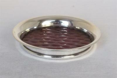 A Lovely Vintage Sterling Silver & Red Glass Bottle Coaster Birmingham 1959.