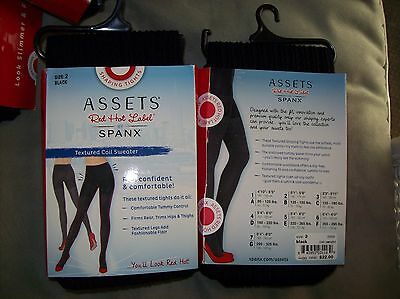 NWT/NIP $22 PERFECT Shaping Tights SPANX Assets Sz 2 Black Textured Coil Sweater