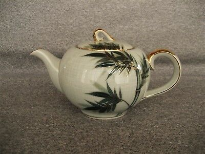 Vintage Celadon China Green Bamboo With Gold Pattern Teapot & Lid