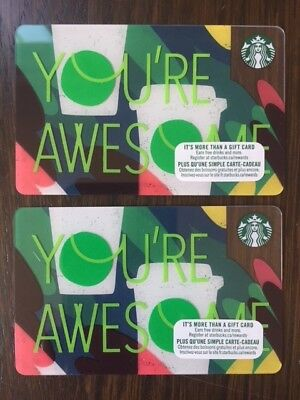 "Canada Series Starbucks ""YOU'RE AWESOME 2018"" Gift Card - New No Value"