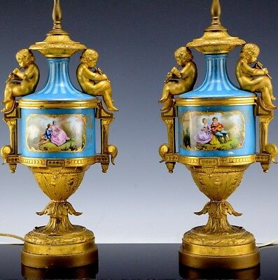 Gorgeous Pair Antique Sevres Porcelain Cherub Figural Ormolu Bronze Table Lamps