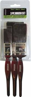 3Pc Paint Brush Set Diy Home Painting Decorating With Red Plastic Handles