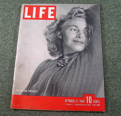 Life Magazine SEASON FOR SWEATERS, October 21 1940 , RCA RADIO AD