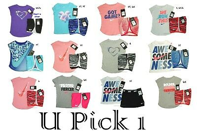 Nike Tee Shorts Girls Athletic Sports Set Outfit Lot Youth Top Bottoms Shirt