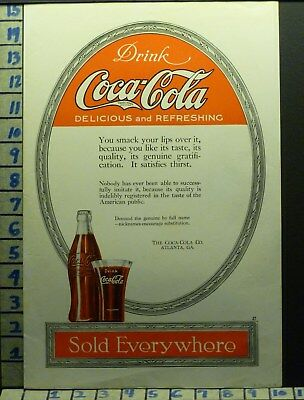 1919 Coca Cola Bottle Glass Pop Sign Display Drink Atlanta Vintage Art Ad V80