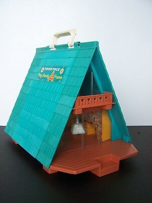 Vintage 1974 Fisher-Price Little People Play Family A-Frame House #990