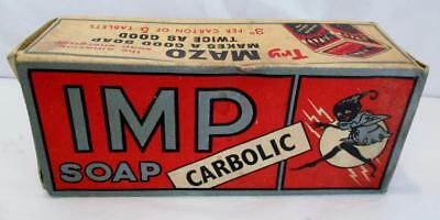 "RARE 1930s ""IMP"" CARBOLIC SOAP COMPLETE with SOAP & BOX GREAT ADVERTS T.H.HARRIS"