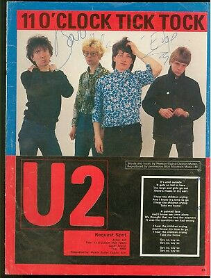 U2 Autographed Signed 1980s Smash Hits Magazine Page By Bono Edge & Adam Clayton