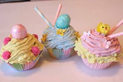 Faux Easter Cupcakes Lot 3 Yellow Pink Blue Eggs Chick Fake Food Photo Prop