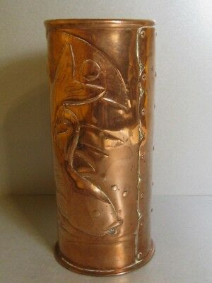 Newlyn Arts & Crafts Movement Fish Copper Vase / Hand Made British