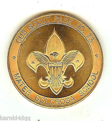 Vintage BSA BOY CUB SCOUTS MATER DOLOROSA TOKEN MEDAL DOUBLOON NEW ORLEANS Brass