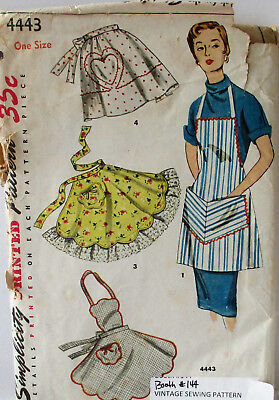 Vintage Simplicity Sewing Pattern 4443 Misses 1 Yard Apron Uncut Copyright 1953