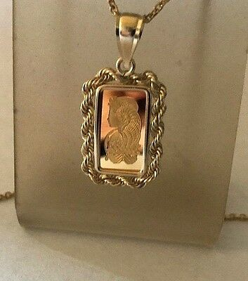 1~Gram ~9999 Gold ~ Lady Fortuna ~ Pamp Suisse ~14-Kt Gold Rope Pendant ~$158.88