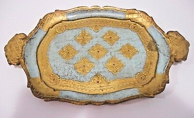"""Florentine Tray Tole Italian Wood Teal & Gold color 12""""s X 7 1/2""""s"""