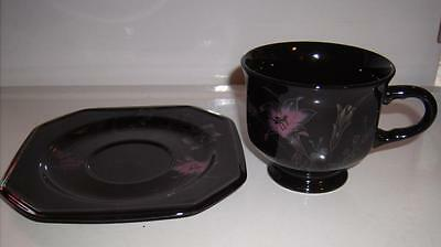 Mikasa Ebony Meadow Footed Cup and Saucer Set Pink&Yellow Floral on Black