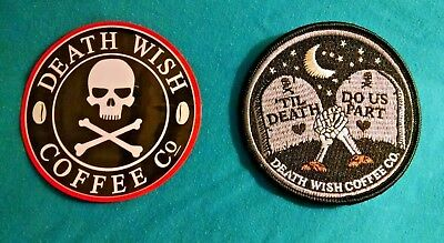 2018 Death Wish Coffee Co Valentines day TIL DEATH DO US PART Patch Like Mugs