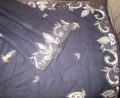 Antique Vintage Sari Saree EMBROIDERED OLD RARE 4Y  Z18 Grey Embroidered #ABGNE