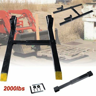 "43"" HD Clamp on Pallet Forks 2000 lb Loader Bucket Tractor Adjustable Stabilizer"