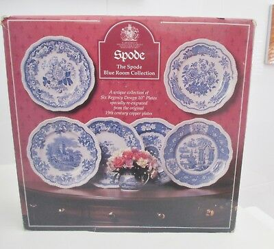 Set of 6 SPODE - BLUE ROOM REGENCY DESIGN  - Collectors Plates - Made in England