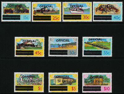 St Kitts O1-10 MNH Ship, Agriculture, Airport, Crab, Tractor, Aircraft